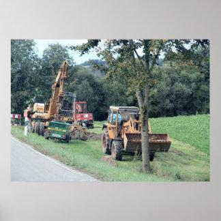 Germany, Bavaria; village heavy digging equipment Poster