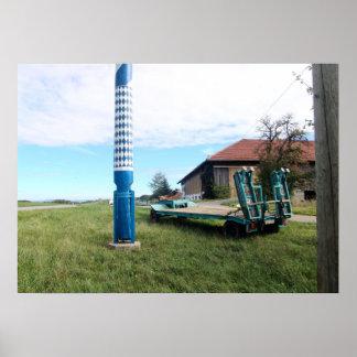 Germany, Bavaria; Village maypole near a farm Poster