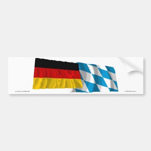 Germany & Bayern Waving Flags (Bavaria) Bumper Stickers