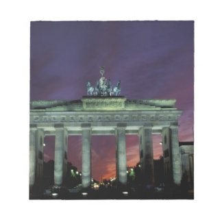 Germany, Berlin. Brandenburg Gate at night. Notepad