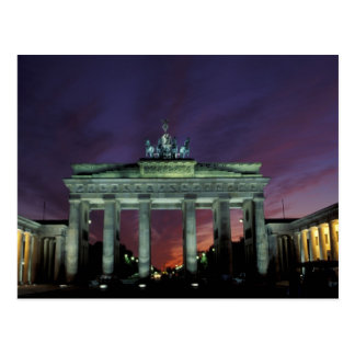 Germany, Berlin. Brandenburg Gate at night. Postcard