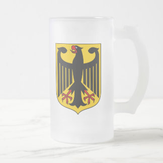 Germany Coat Of Arms Frosted Glass Beer Mug