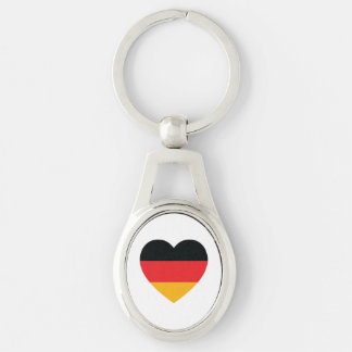 Germany Flag Heart Metal Keychain Silver-Colored Oval Key Ring