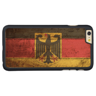 Germany Flag on Old Wood Grain Carved Maple iPhone 6 Plus Case