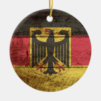 Germany Flag on Old Wood Grain Christmas Ornament