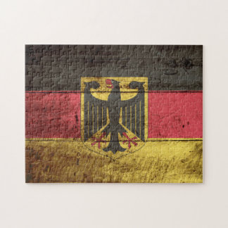 Germany Flag on Old Wood Grain Jigsaw Puzzle