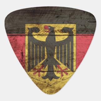 Germany Flag on Old Wood Grain Plectrum