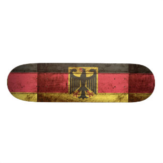 Germany Flag on Old Wood Grain Skate Deck