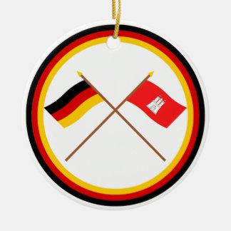 Germany & Hamburg Crossed Flags Round Ceramic Decoration