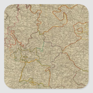 Germany hand oclored atlas map square sticker