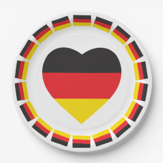 GERMANY HEART SHAPE FLAG PAPER PLATE