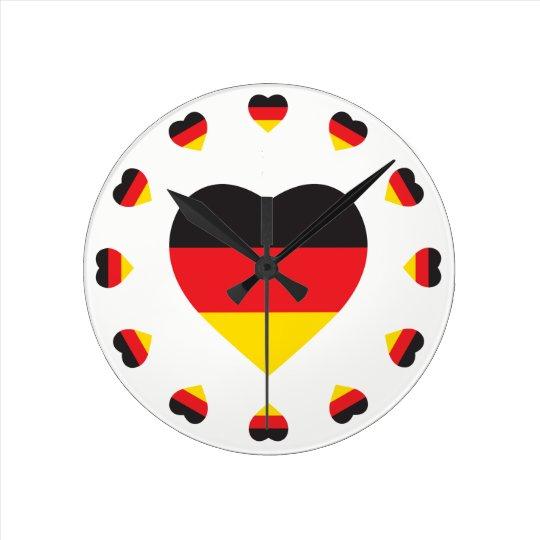GERMANY HEART SHAPE FLAG ROUND CLOCK
