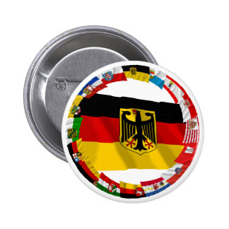 Germany & its Laender Waving Flags 6 Cm Round Badge