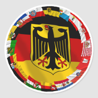 Germany & its Laender Waving Flags Classic Round Sticker