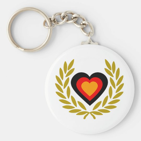 germany-laurel-heart. basic round button key ring