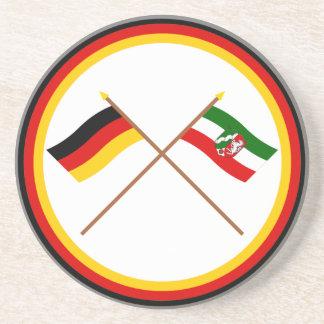 Germany & Nordrhein-Westfalen Crossed Flags Drink Coasters