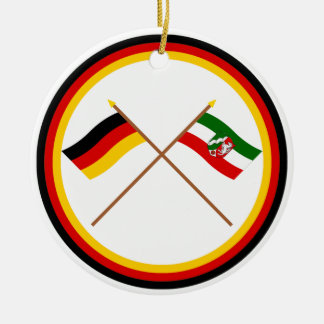 Germany & Nordrhein-Westfalen Crossed Flags Double-Sided Ceramic Round Christmas Ornament