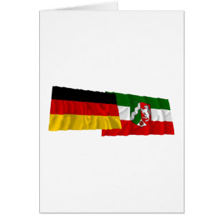 Germany & Nordrhein-Westfalen Waving Flags Greeting Cards