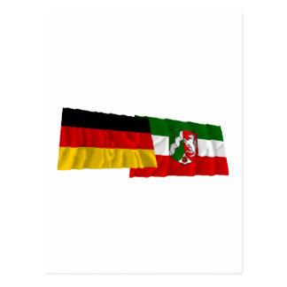 Germany & Nordrhein-Westfalen Waving Flags Postcard