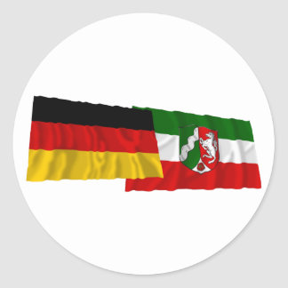 Germany & Nordrhein-Westfalen Waving Flags Round Stickers