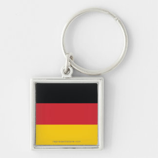 Germany Plain Flag Silver-Colored Square Key Ring