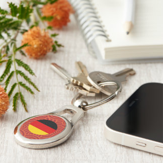 Germany round flag Silver-Colored oval key ring