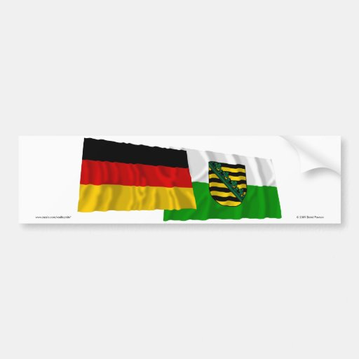 Germany & Sachsen Waving Flags Bumper Stickers