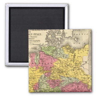 Germany, Switzerland, and Northern Italy Square Magnet