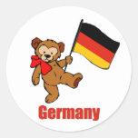 Germany Teddy Bear Round Stickers