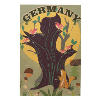Germany vintage cartoon landscape travel poster wood canvas