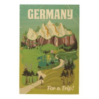 Germany vintage style travel poster wood prints
