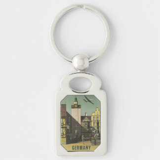 GERMANY Vintage Travel key chain Silver-Colored Rectangle Key Ring