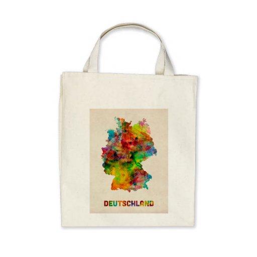 Germany Watercolor Map (Deutschland) Canvas Bags