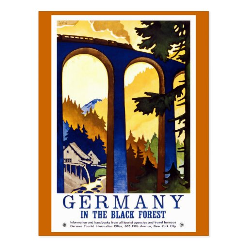 """Germany's Black Forest"" Vintage Travel Poster Post Card"