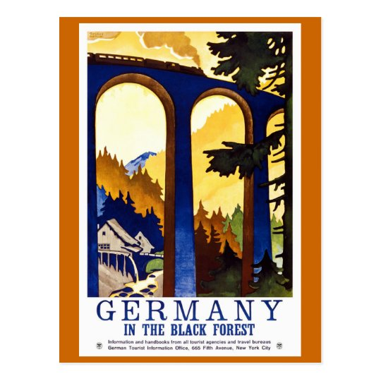 Germany's Black Forest Vintage Travel Poster Postcard