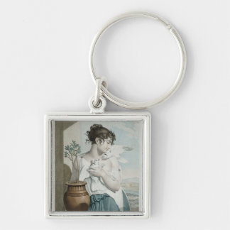 Germinal , seventh month of Republican Calendar Silver-Colored Square Key Ring