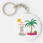 Germman Shepherd Dog Hawaiian Christmas Basic Round Button Key Ring