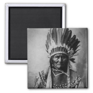 Geronimo in Head Dress Vintage Indian Square Magnet