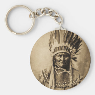 Geronimo in Head Dress Vintage Portrait Sepia Basic Round Button Key Ring
