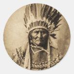 Geronimo in Head Dress Vintage Portrait Sepia Round Sticker