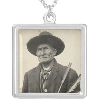 'Geronimo with Arrows' Square Pendant Necklace