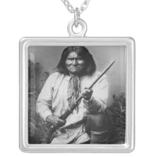 'Geronimo with Gun at the Ready' Square Pendant Necklace