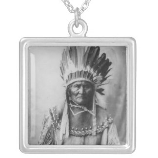 'Geronimo with Headdress' Square Pendant Necklace
