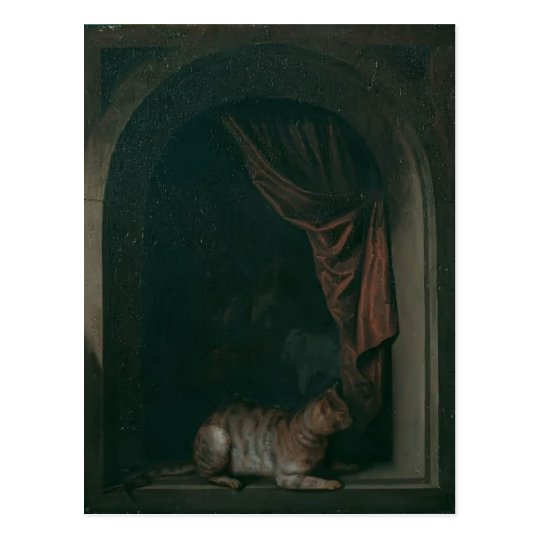 Gerrit Dou- A cat at window of a painters' studios Postcard