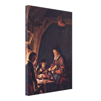 Gerrit Dou - Old Woman Cutting Bread Gallery Wrap Canvas