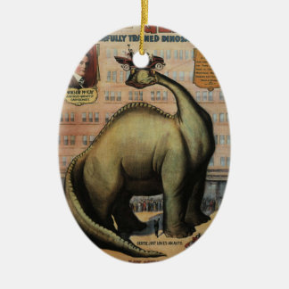 Gertie The Dinosaur Double-Sided Oval Ceramic Christmas Ornament