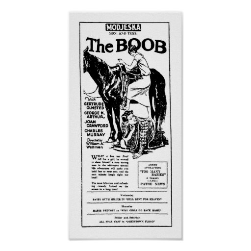 Gertrude Olmstead THE BOOB vintage movie ad Poster