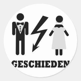 geschieden icon classic round sticker