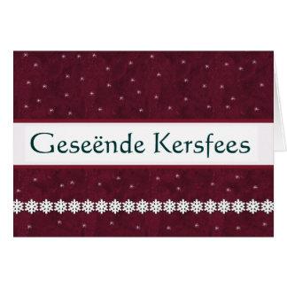 Geseënde Kersfees Snowflakes MAROON Background Card