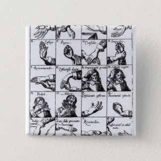 Gestures for miming  John Bulwer's 'Chrilogia 15 Cm Square Badge